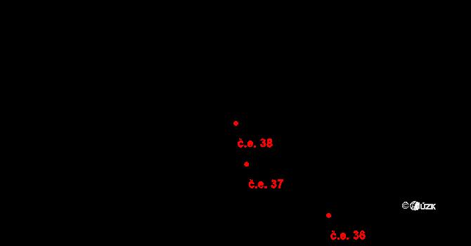 Lhota pod Radčem 38 na parcele st. 219 v KÚ Lhota pod Radčem, Katastrální mapa