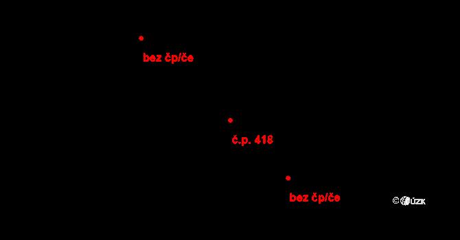 Vsetín 418 na parcele st. 2187/2 v KÚ Vsetín, Katastrální mapa