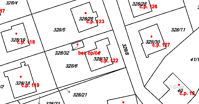Staré Hodějovice 122 na parcele st. 328/10 v KÚ Staré Hodějovice, Katastrální mapa