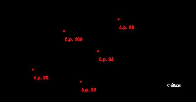 Chudenice 84 na parcele st. 90 v KÚ Chudenice, Katastrální mapa
