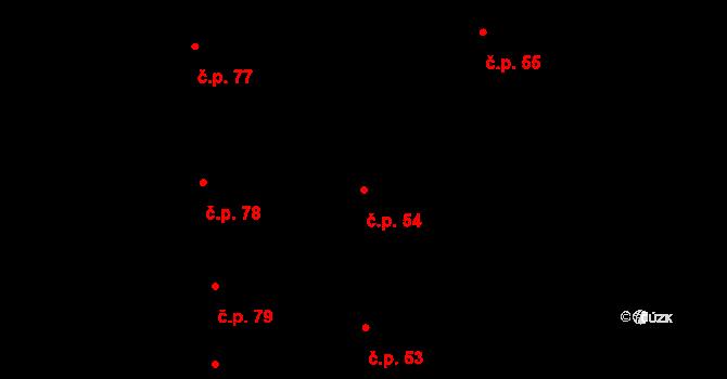 Horní Bojanovice 54 na parcele st. 154 v KÚ Horní Bojanovice, Katastrální mapa