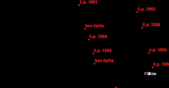 Aš 1954 na parcele st. 2036/1 v KÚ Aš, Katastrální mapa