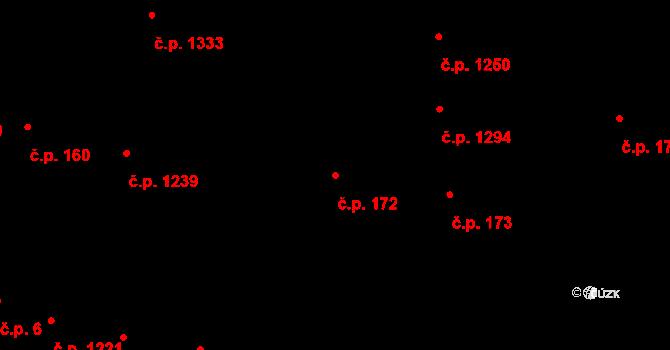 Uherské Hradiště 172 na parcele st. 201/1 v KÚ Uherské Hradiště, Katastrální mapa