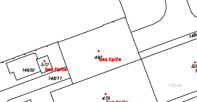Jihlava 38650410 na parcele st. 482 v KÚ Staré Hory, Katastrální mapa