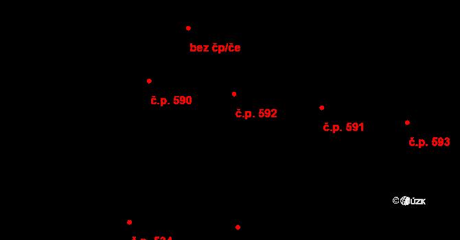 Hovězí 592 na parcele st. 2218 v KÚ Hovězí, Katastrální mapa