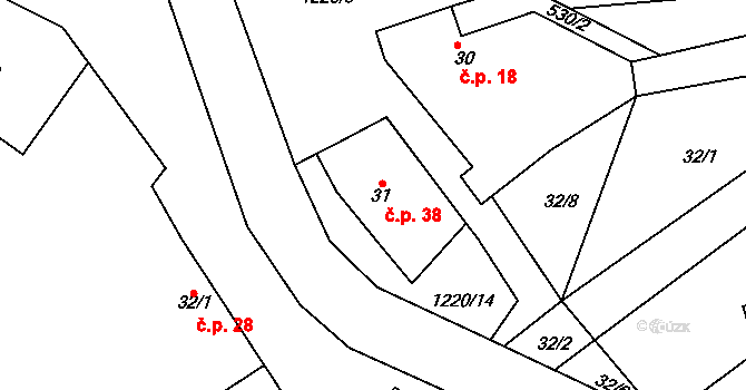 Zelenecká Lhota 38 na parcele st. 31 v KÚ Zelenecká Lhota, Katastrální mapa