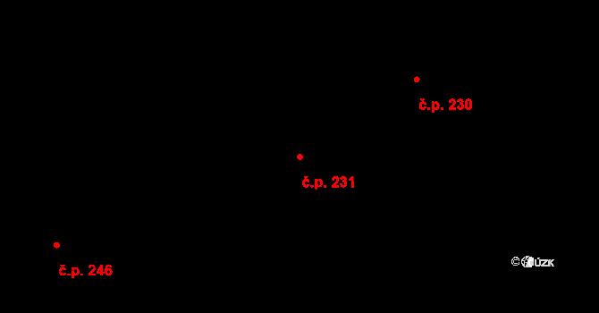 Sehradice 231 na parcele st. 417 v KÚ Sehradice, Katastrální mapa