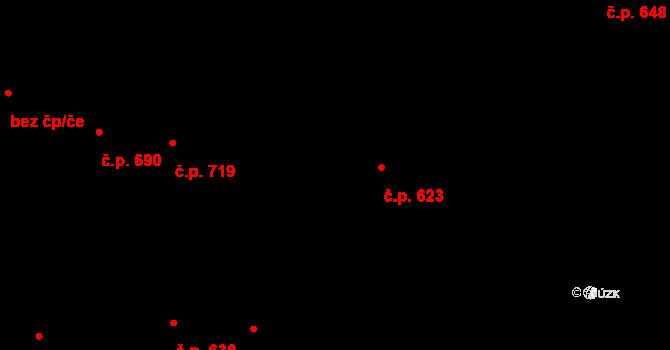 Strašnice 623, Praha na parcele st. 2135 v KÚ Strašnice, Katastrální mapa