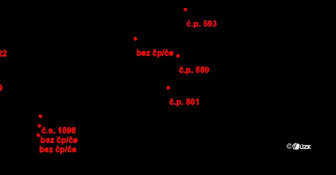 Zlín 501 na parcele st. 1072 v KÚ Zlín, Katastrální mapa