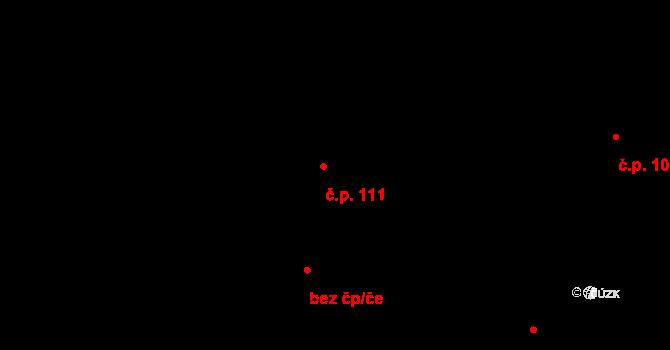 Bílý Potok 111 na parcele st. 33 v KÚ Bílý Potok pod Smrkem, Katastrální mapa