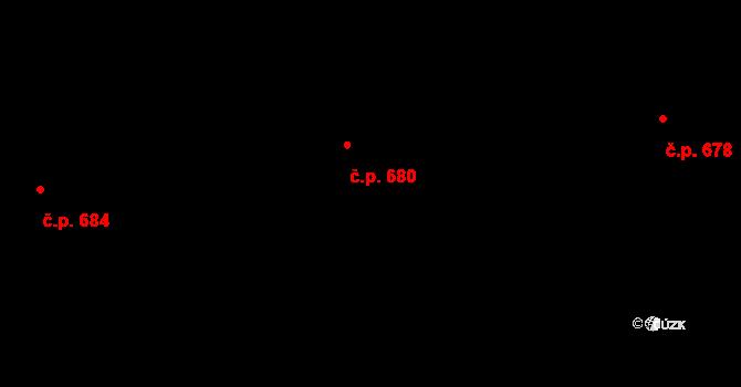 Letňany 680, Praha na parcele st. 600/76 v KÚ Letňany, Katastrální mapa
