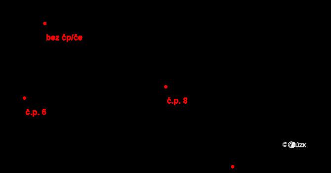 Březí 8, Pernarec na parcele st. 5/1 v KÚ Březí u Pernarce, Katastrální mapa