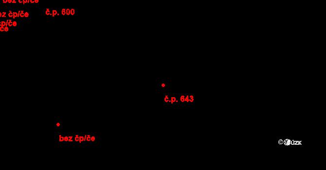 Studánka 643, Pardubice na parcele st. 705 v KÚ Studánka, Katastrální mapa