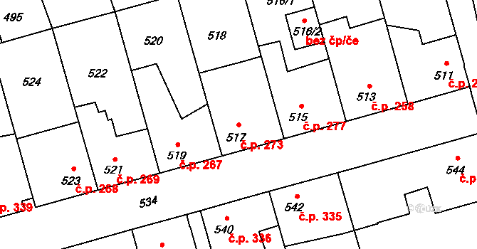 Hřebeč 273 na parcele st. 517 v KÚ Hřebeč, Katastrální mapa