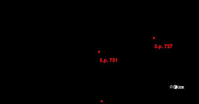 Prštné 731, Zlín na parcele st. 1155 v KÚ Prštné, Katastrální mapa