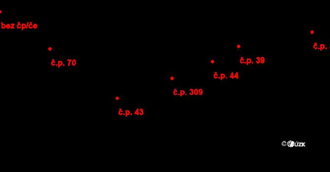 Rovensko pod Troskami 309 na parcele st. 10 v KÚ Rovensko pod Troskami, Katastrální mapa