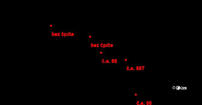 Čejč 58 na parcele st. 1601/2 v KÚ Čejč, Katastrální mapa