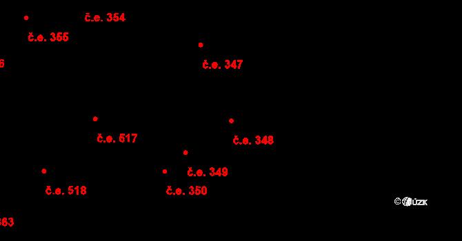 Lety 348 na parcele st. 1504 v KÚ Lety u Dobřichovic, Katastrální mapa