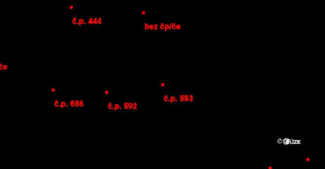 Jižní Předměstí 593, Plzeň na parcele st. 5901 v KÚ Plzeň, Katastrální mapa