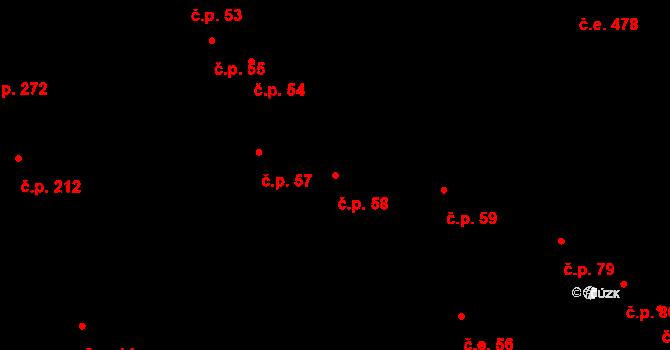 Kohoutovice 58, Brno na parcele st. 825 v KÚ Kohoutovice, Katastrální mapa