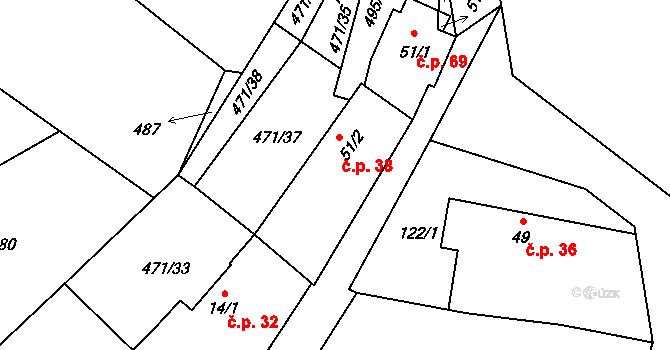 Dlouhá Lhota 38 na parcele st. 51/2 v KÚ Dlouhá Lhota u Tábora, Katastrální mapa