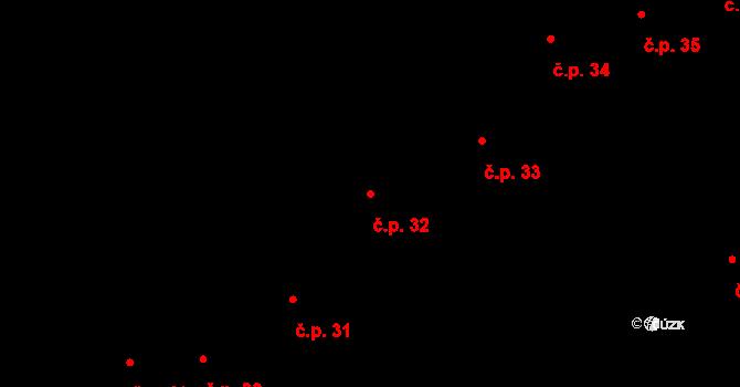 Dobruška 32 na parcele st. 74 v KÚ Dobruška, Katastrální mapa