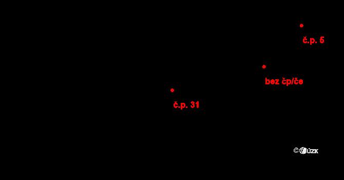 Pokutice 31, Kadaň na parcele st. 59 v KÚ Pokutice, Katastrální mapa