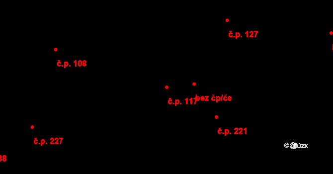 Plavsko 117 na parcele st. 134/1 v KÚ Plavsko, Katastrální mapa