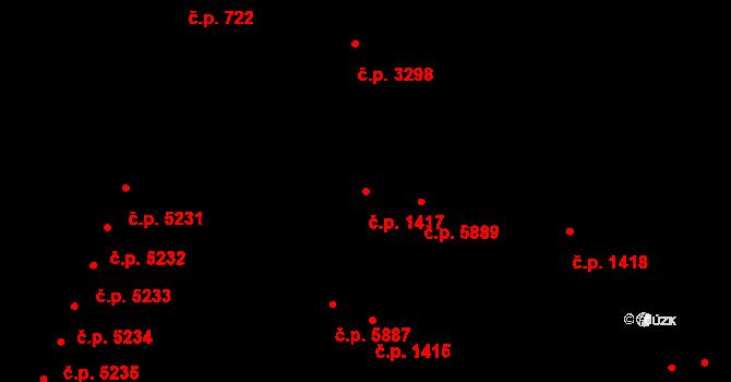 Zlín 1417 na parcele st. 1700/1 v KÚ Zlín, Katastrální mapa