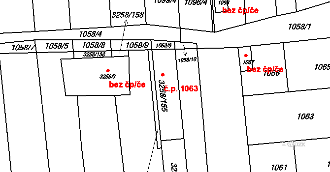 Újezd u Brna 1063 na parcele st. 3258/155 v KÚ Újezd u Brna, Katastrální mapa