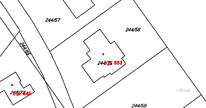 Habrovice 553, Ústí nad Labem na parcele st. 244/75 v KÚ Habrovice, Katastrální mapa