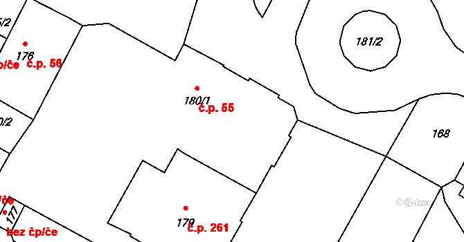 Nový Bor 55 na parcele st. 180/1 v KÚ Nový Bor, Katastrální mapa