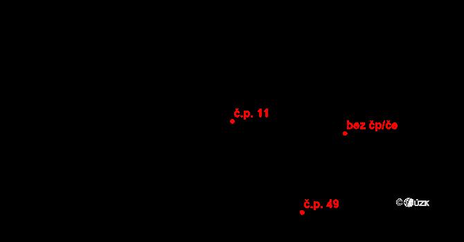 Radíkovice 11 na parcele st. 55 v KÚ Radíkovice, Katastrální mapa