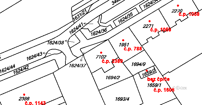 Cheb 2389 na parcele st. 7102 v KÚ Cheb, Katastrální mapa