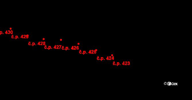 Mladcová 424, Zlín na parcele st. 765 v KÚ Mladcová, Katastrální mapa