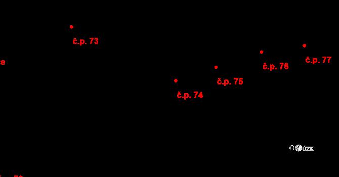 Český Brod 74 na parcele st. 44/4 v KÚ Český Brod, Katastrální mapa