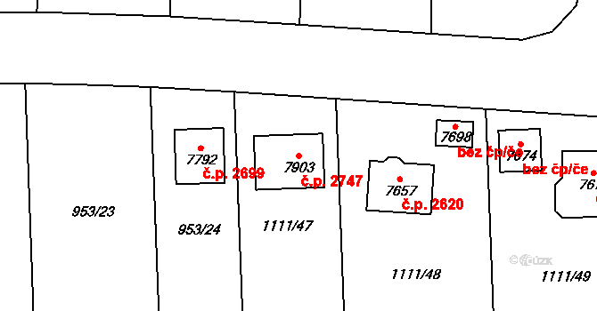 Cheb 2747 na parcele st. 7903 v KÚ Cheb, Katastrální mapa