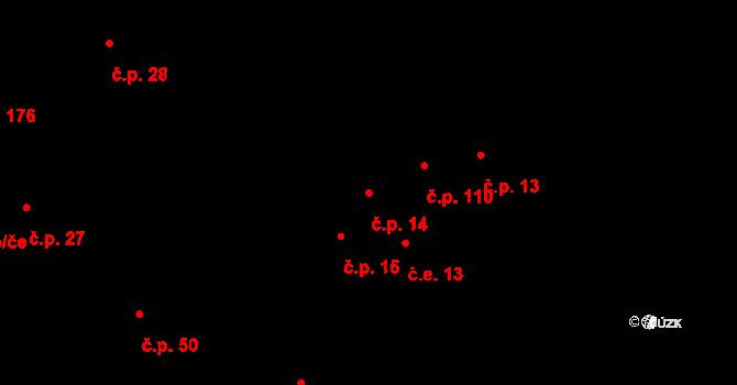 Hudcov 14, Teplice na parcele st. 43/1 v KÚ Hudcov, Katastrální mapa