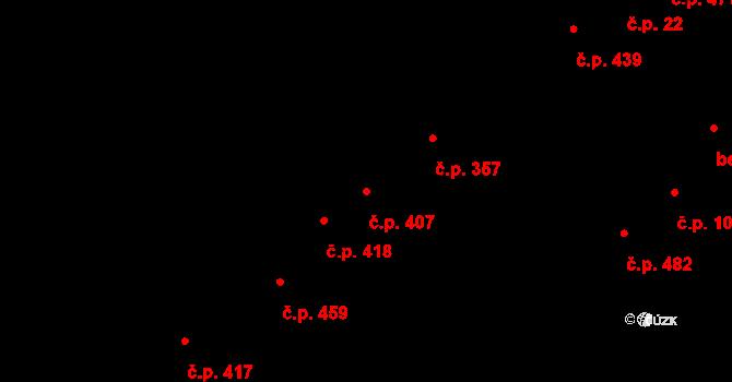 Podivín 407 na parcele st. 1364 v KÚ Podivín, Katastrální mapa