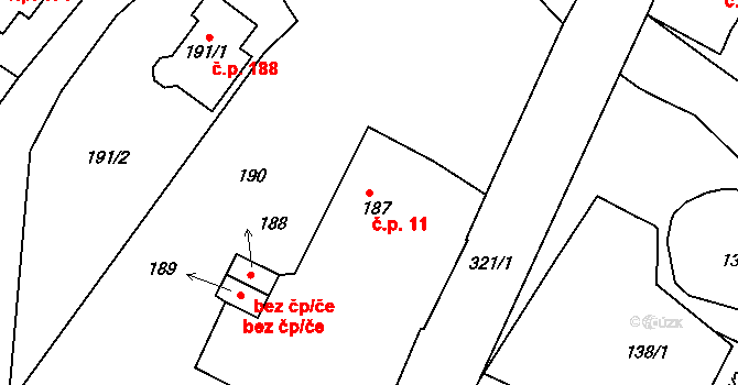Olšová Vrata 11, Karlovy Vary na parcele st. 187 v KÚ Olšová Vrata, Katastrální mapa