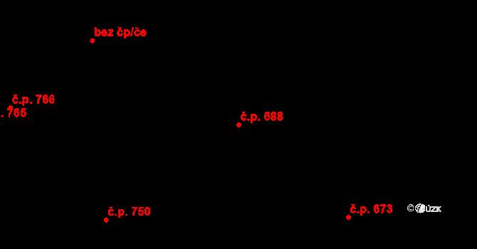 Újezd 688, Plzeň na parcele st. 1255/187 v KÚ Újezd, Katastrální mapa