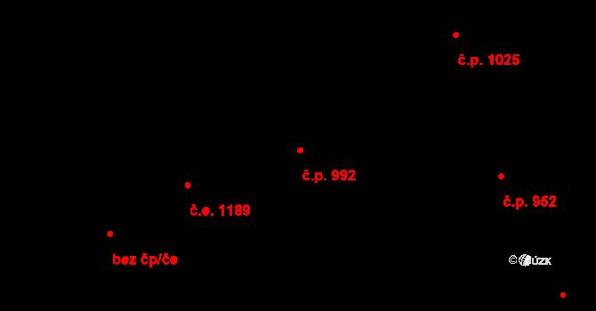 Černošice 992 na parcele st. 2103 v KÚ Černošice, Katastrální mapa