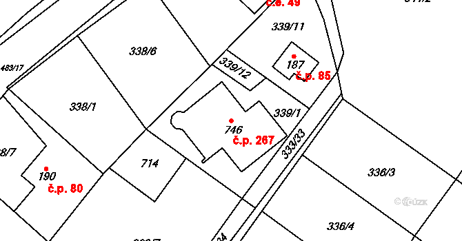 Řež 267, Husinec na parcele st. 746 v KÚ Husinec u Řeže, Katastrální mapa