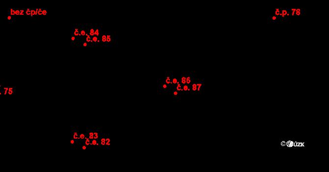 Malé Březno 86 na parcele st. 104/7 v KÚ Malé Březno, Katastrální mapa