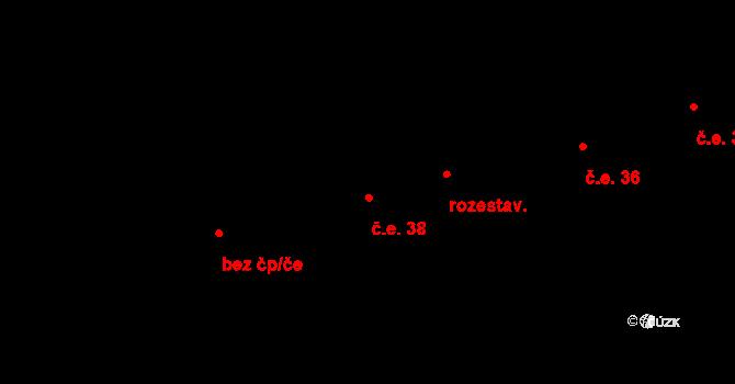 Horní Lhota 38 na parcele st. 228 v KÚ Horní Lhota u Luhačovic, Katastrální mapa
