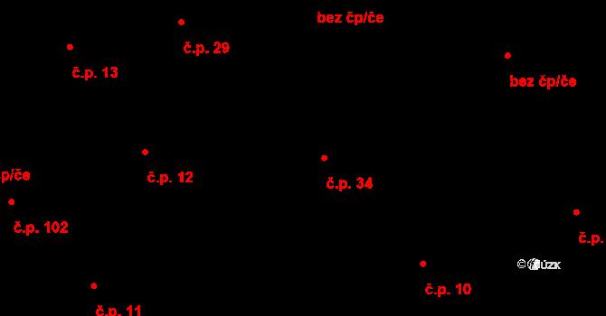 Bojanovice 34 na parcele st. 39 v KÚ Bojanovice, Katastrální mapa