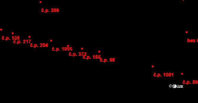 Újezd u Brna 98 na parcele st. 86 v KÚ Újezd u Brna, Katastrální mapa