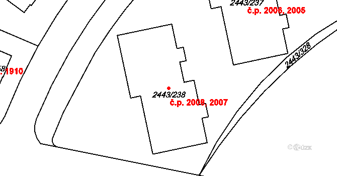 Roztoky 2007,2008 na parcele st. 2443/238 v KÚ Roztoky u Prahy, Katastrální mapa