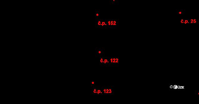 Lesonice 122 na parcele st. 122 v KÚ Lesonice, Katastrální mapa