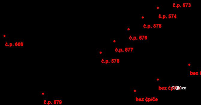 Lednice 578 na parcele st. 240 v KÚ Lednice na Moravě, Katastrální mapa